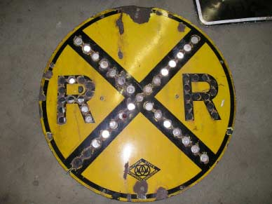 Vintage Railroad Crossing sign w/reflectors.