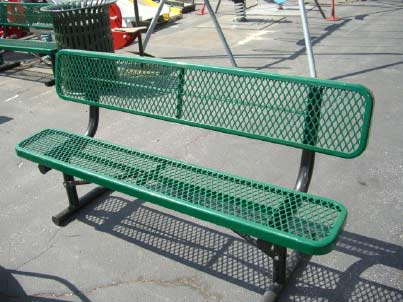 Light Green, Metal Mesh Playground Bench with Back
