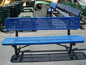 Light Blue, Perforated Playground Bench