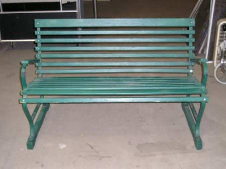 Green Wood Park Bench with Thin Slats and Arm Rests