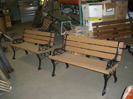 Wood and Wrought Iron Park Benches