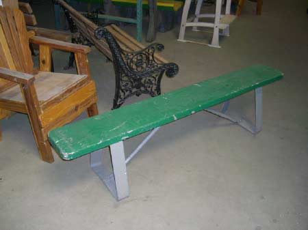 Green Backless Bench
