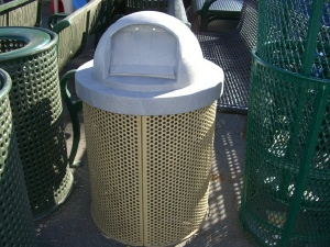 Round Perforated Trash Cans with Flip Lids