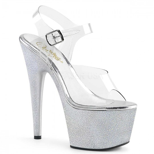 297babd342d Pleaser Adore-708HG - Clear Silver Hologram Glitters in Heels ...