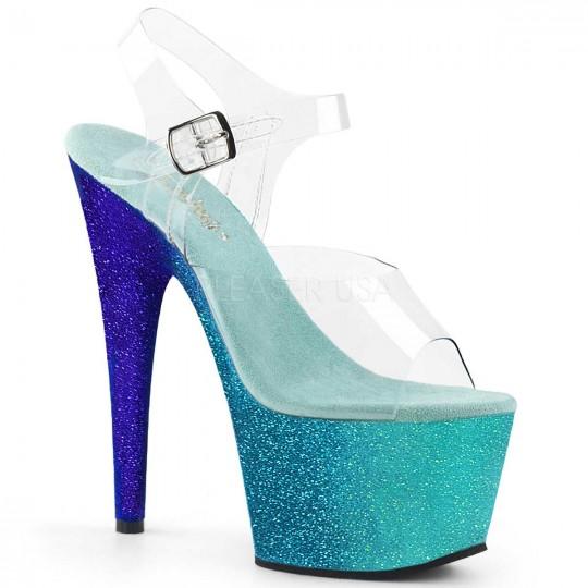 Pleaser Adore-708OMBRE - Clear Aqua Blue Ombre in Heels ...