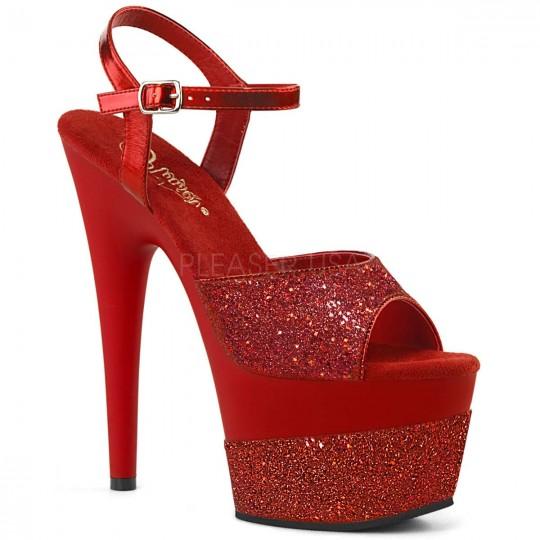 84fff36fe Pleaser Adore-709-2G - Red Glitter in Sexy Heels & Platforms - $59.95