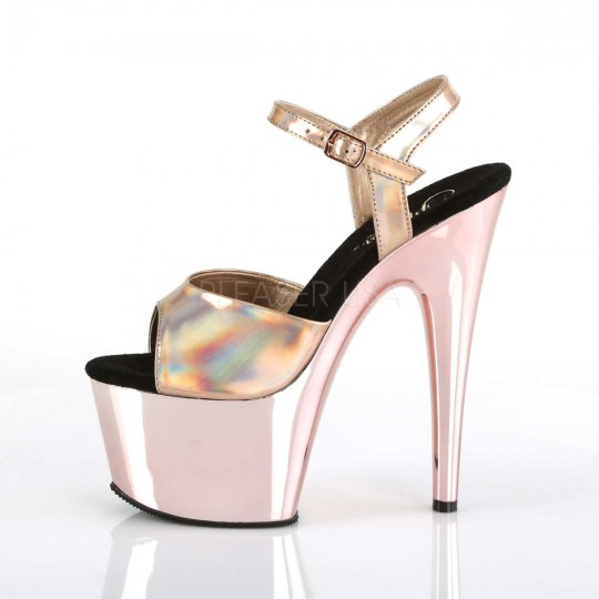 Pleaser 709HGCH Adore 709HGCH Pleaser Rose oro Hologram Chrome in Heels 5d5d52