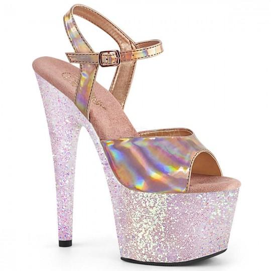 3602bd081b2 Adore-709HGG - Rose Gold Hologram Pink Multi Glitter by Pleaser
