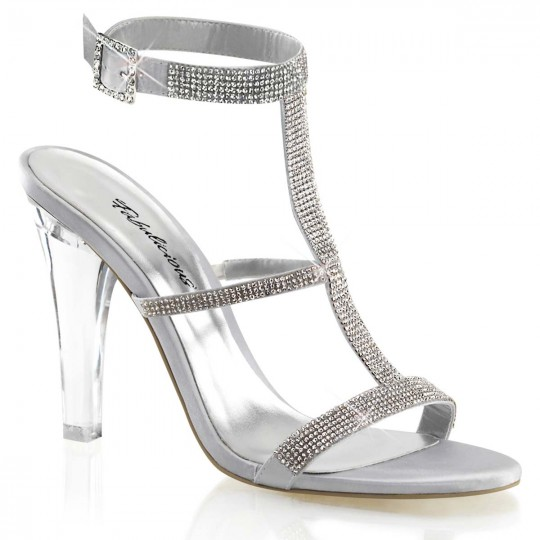 Fabulicious CLEARLY-418 - Silver Satin by Pleaser