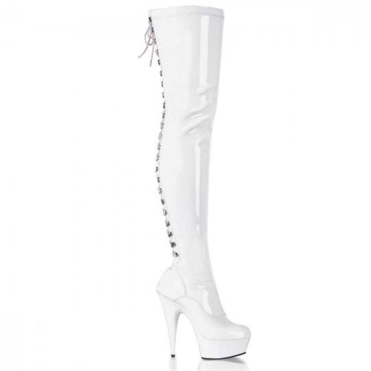 b1c8f20890f Pleaser Delight-3063 - White Stretch Patent White in Sexy Boots -  99.95