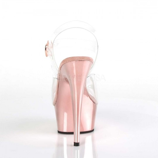 aa1c8d7dae6 Pleaser Delight-608 - Clear Rose Gold Chrome in Sexy Heels ...