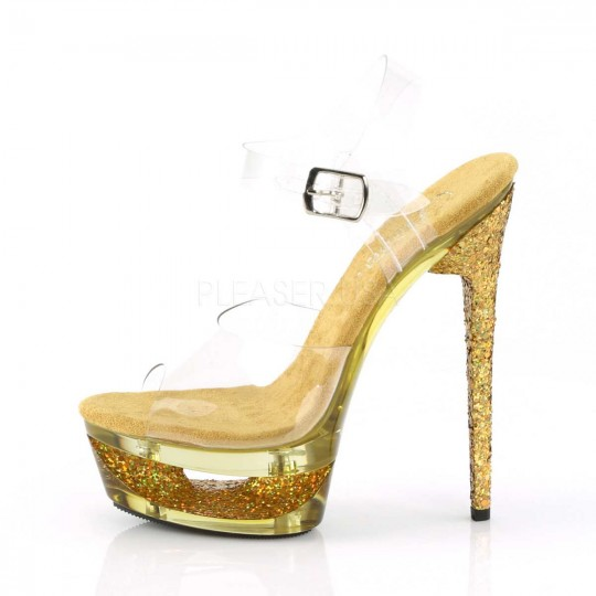 2d488d30b19596 Pleaser Eclipse-608GT - Clear Gold Multi Glitter Tinted in Heels ...