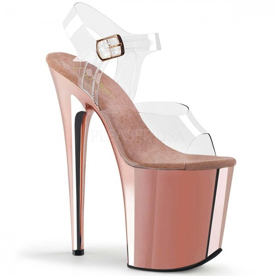 bb26eb349bb Pleaser Flamingo-808 - Clear Rose Gold Chrome in Sexy High Heels ...