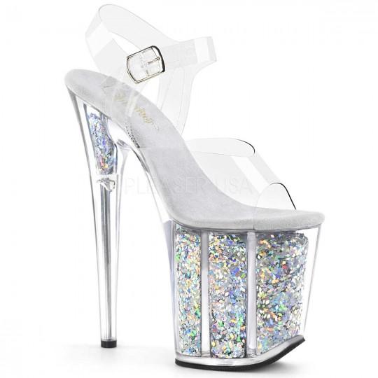 31b3e1f7e7d Pleaser Flamingo-808GF - Clear Silver Multi Glitter in Heels   Platforms -   77.95