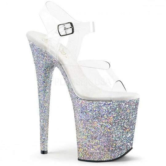 2c1e05542a1c Pleaser Flamingo-808LG - Clear Silver Multi Glitter in Sexy Heels ...