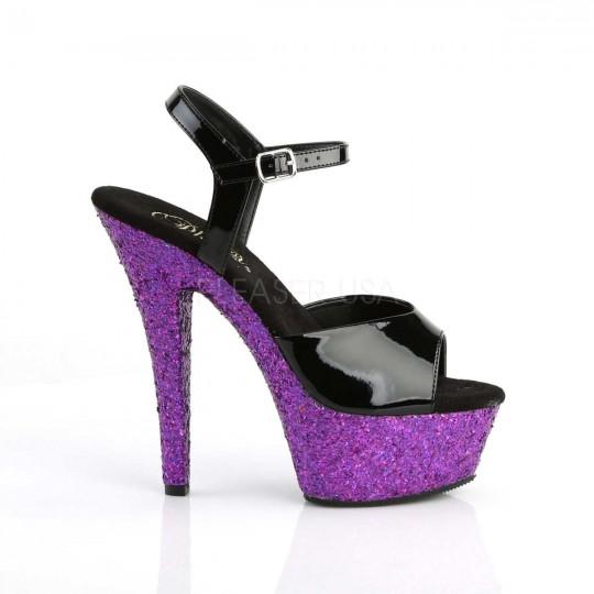 Pleaser Pat Kiss 209LG schwarz Pat Pleaser Purple Multi Glitter in Heels 2cb7a5