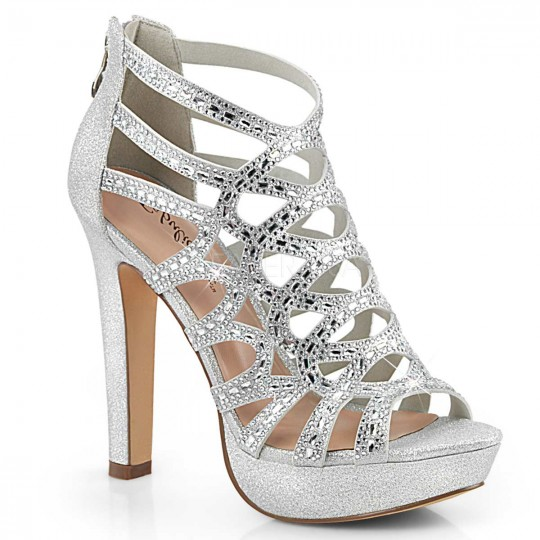 03471515651 Pleaser Selene-24 - Silver Shimmering Fabric in Heels   Platforms ...